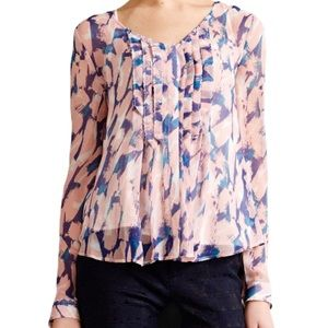 Maeve Anthropologie Pink Blue Painted Blouse